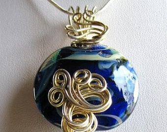 Wire wrapped lampwork bead, sterling silver pendant