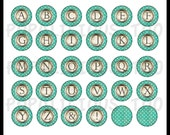 Vintage Style Alphabet Flat back buttons with Aqua Polka Dots set of 30 SPECIAL Price