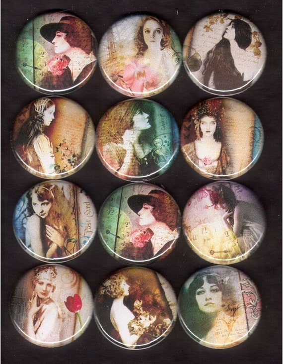 12 Stunning Women Flat Back Buttons, Pin Back Buttons or Hollow Cabochons