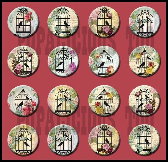 16 Birds Cages Shabby Chic 1 inch flat back buttons
