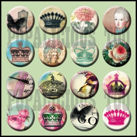 16 Flatback buttons Paris style choice of flatback or pinback 1 inch