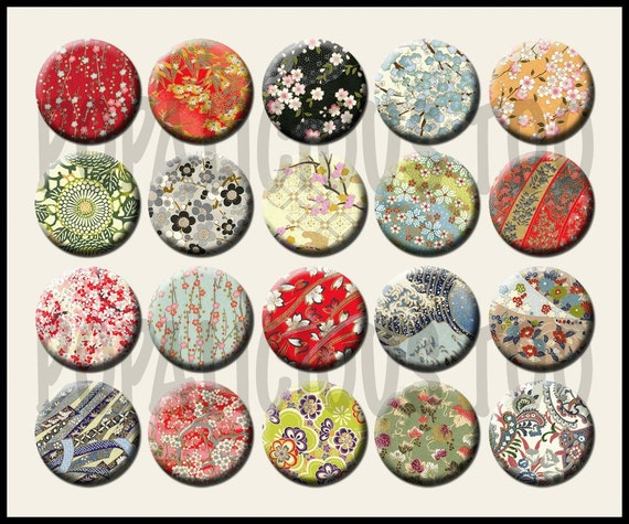 Asian Designs 20 1 inch flat backs or pinback buttons cabochons