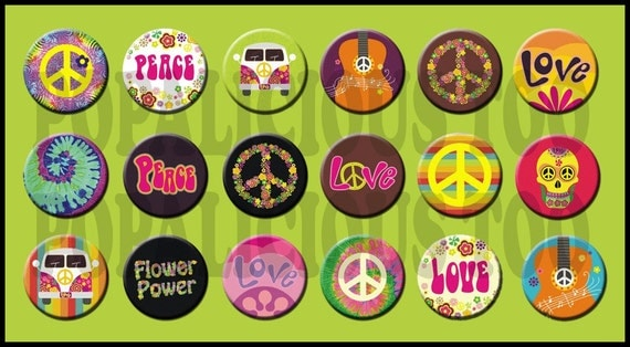 18 Hippie Set flat back buttons pin back buttons or hollow your choice