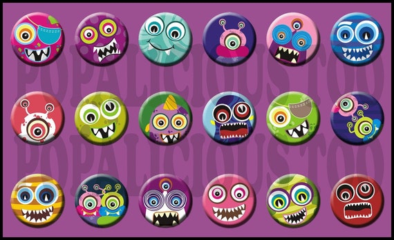 18 My Pet Monsters 1 inch flat back or pin backs cabochons part 2
