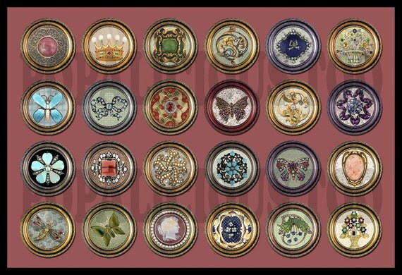 24 Antique Brooch Designs flat back buttons or pin back 1 inch cabochons