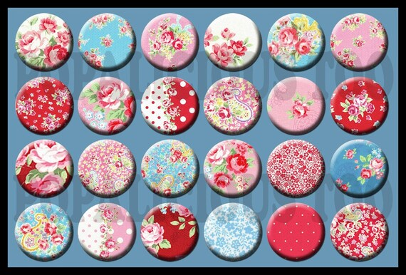 24 Cottage Chic Red & Turquoise Florals Flat back buttons