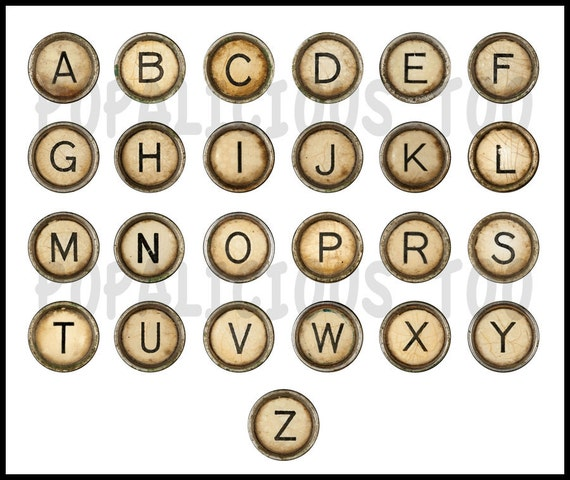 Vintage Typewriter Key Alphabet Flat back buttons set of 26 SPECIAL Price