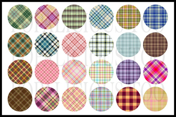 24 Fun Plaid Collection flat back buttons, pin back buttons or hollow your choice