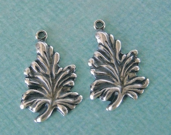 2 Small Silver Leaf Charms 748