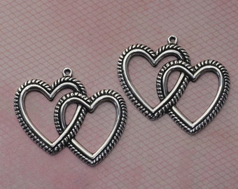2 Silver Double Heart Charms 1150