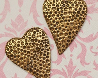 2 Brass Hearts with Bumpy Texture 1736