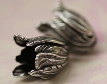 2 Silver Tulip Bead Caps 1698