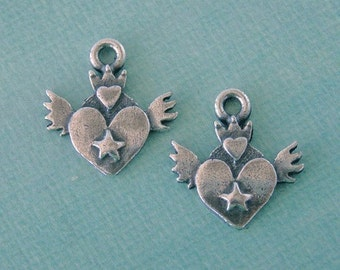 Pewter Heart with Wings Charms 805