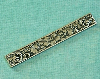 Silver Floral Embossed Bar Finding 1874