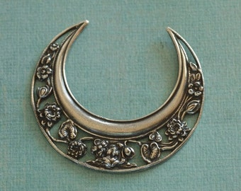 Large Silver Crescent Floral Finding 2231