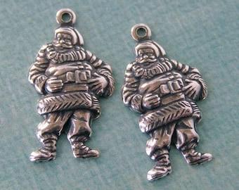 2 Silver Santa Charms 1019