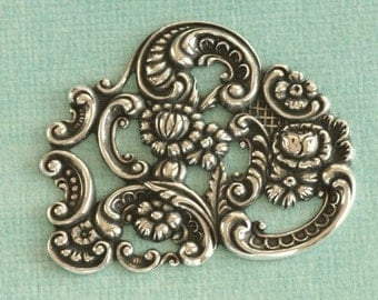 Large Silver Filigree Finding 2401