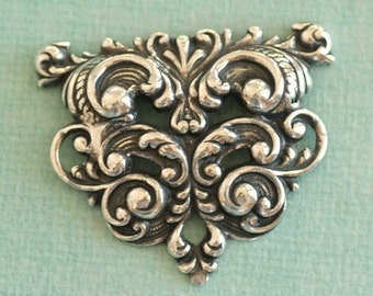 Ornate Silver Repousse Finding 2507