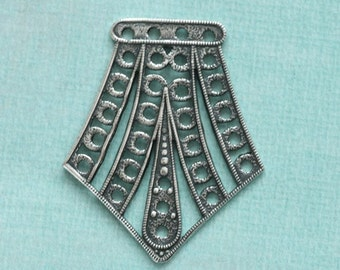 Large Silver Filigree Finding 2544