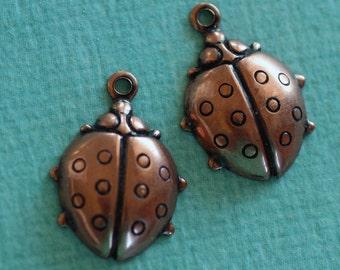 2 Copper Ladybug Charms 2642