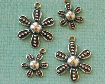4 Silver Flower Charms 2632