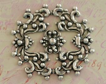 Ornate Silver Filigree Finding 2589