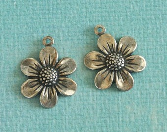 NEW 2 Silver Flower Charms 2724
