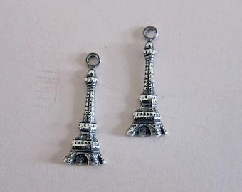 2 Silver Eiffel Tower Charm 2857