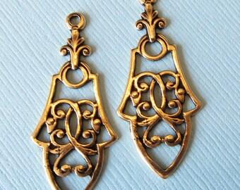 2 Brass Filigree Charms 1713B