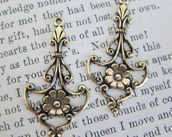 2 Brass Flower Drop Charms 2122B