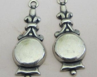 2 Silver Drop Charms 2927