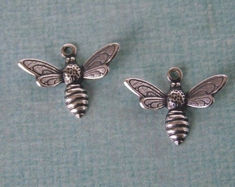 2 Small Silver Bee Charms 929