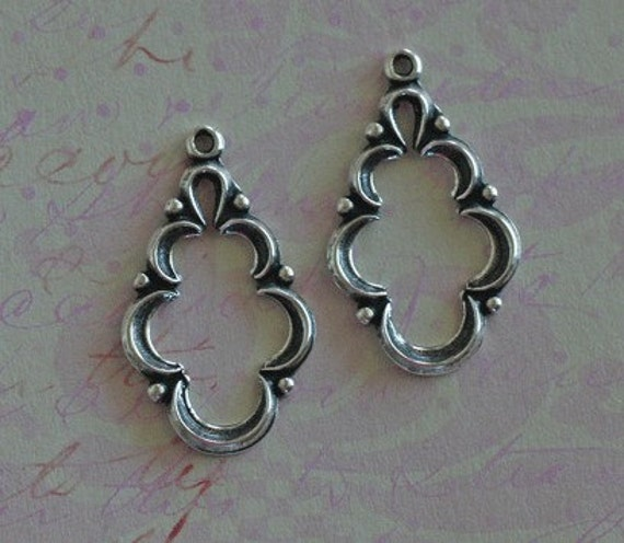 2 Silver Drop Charms 2121
