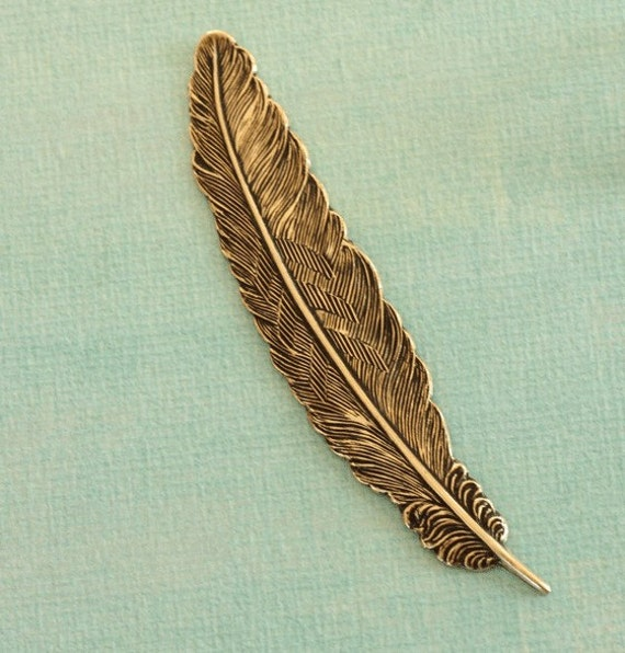 Antique Brass 3 1/2 Inch Feather 1861
