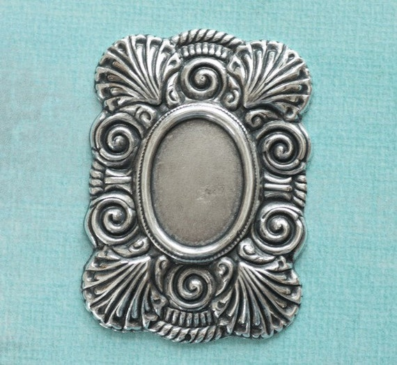 Large Silver Oval Cabochon Setting 2543