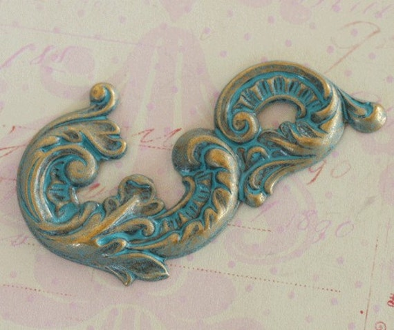 SALE Large Patina Brass Scroll Finding 2579
