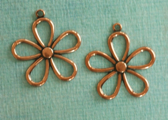 2 Copper Flower Charms 2672