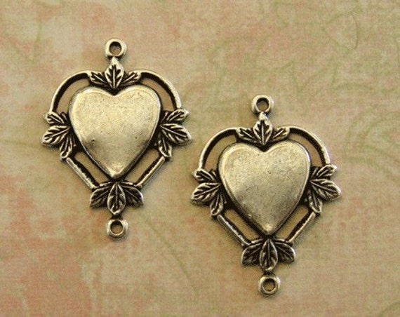 2 Silver Heart Charms 415