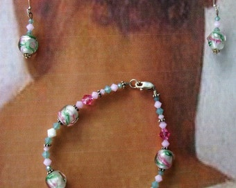 Glass and Crystal Bracelet and Earring Set - Pinks