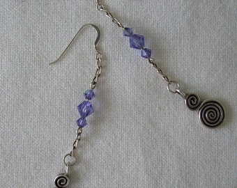 Long Swarovski Crystal Earrings - Lavender
