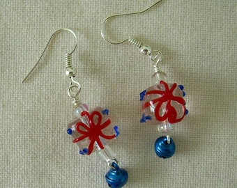 Glass Gift Package Earrings - Red and Blue
