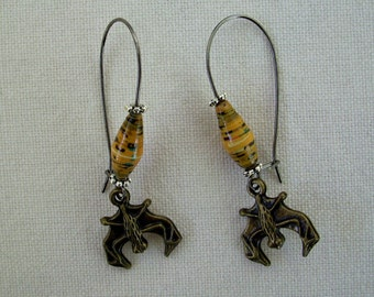Paper Bead Earrings with Bat Charm Yellow