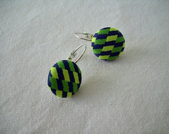 Mod Fabric Button Latch Hook Earrings - Navy Blue and Greens