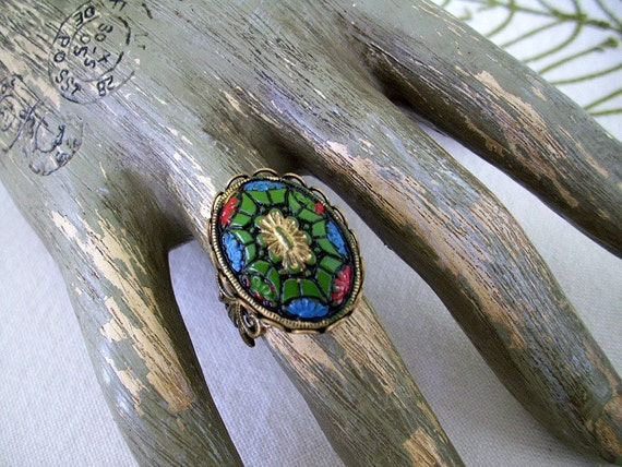 Vintage Cabochon BoHo Filigree Ring