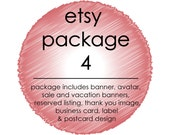 Custom ETSY Shop Set 4: 3 Banners, Avatar, Thank You, Reserved and Facebook Cover Image, Label, Business Card and Marketing Postcard Design