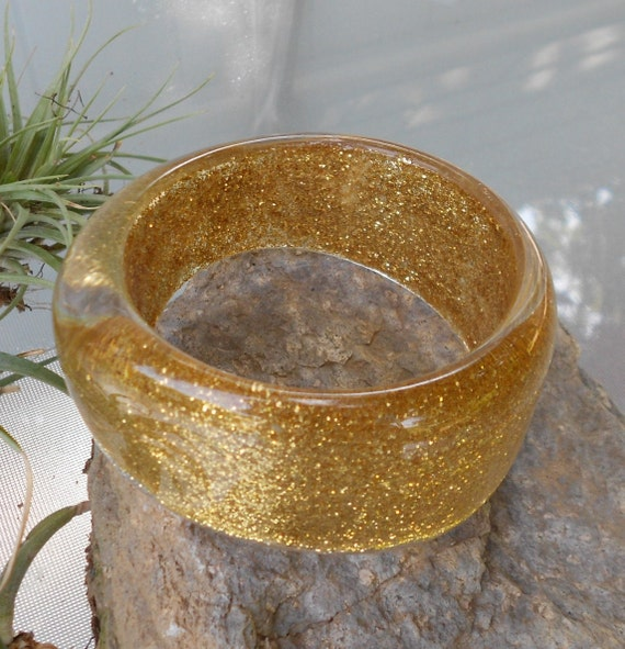 2 CHUNKY LUCITE Bangles  with Gold Glitter,  Vintage Lucite Bangles....Free Shipping