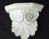 White Pedestal Shelf Shabby ornate
