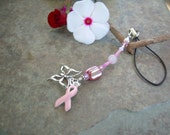 Pink Ribbon Charm Phone\/Purse Dangle