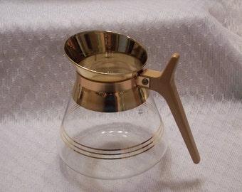 Vintage Coffee carafe Pyrex Beverage Carafe glass gold tan