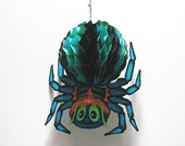 Vintage Halloween Decoration Spider Paper Honeycomb Fold Out 1978